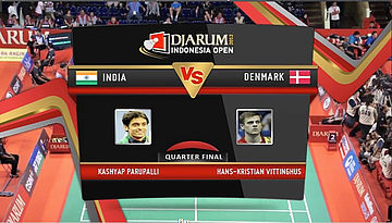 Kasyap Parupalli (india) VS Hans-Kristian Vittinghus (Denmark) Mens Single Quarter Final Djarum Indonesia Open Super Series Priemer 2012