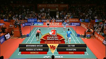 M.Ahsan/ Hendra S. (INDONESIA) VS Cai Yun/ Fu Haifeng (CHINA) Djarum Indonesia Open 2013