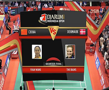 Wang Yihan (China) VS Tine Bauns (Denmark) Women Single Quarter Final Djarum Indonesia Open Super Series Premier 2012