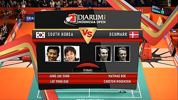 Jung Jae Sung/ Lee Yong Dae (South Korea) VS Mathias Boe/ Carsten Mogensen (Denmark) Final Mens Double DJARUM Indonesia Open Super Series Premier 2012