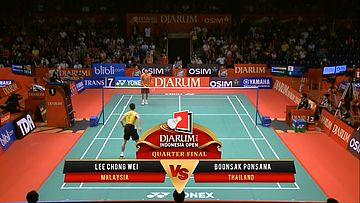 Lee Chong Wei (MALAYSIA) VS Boonsak Ponsana (THAILAND) Djarum Indonesia Open 2013